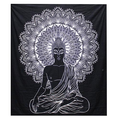 B&W Double Cotton Bedspread + Wall Hanging -   Buddha