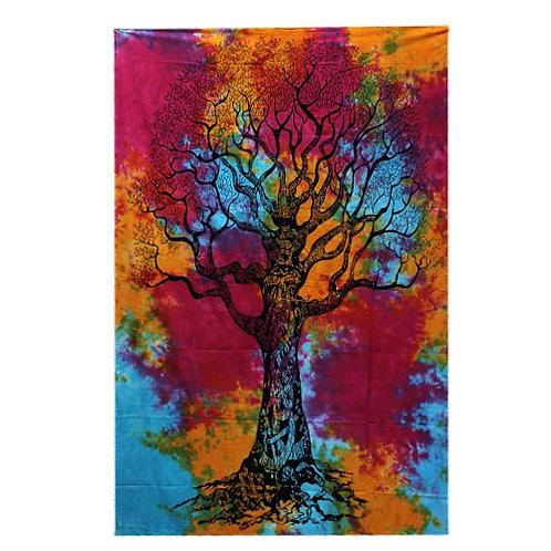 Single Cotton Bedspread + Wall Hanging -  Winter Tree