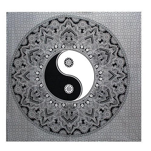 B&W Double Cotton Bedspread + Wall Hanging -  Ying Yang