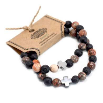 Set of 2 Gemstones Friendship Bracelets - Eternity - Leopard Skin Jasper & Lava
