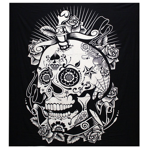 B&W Double Cotton Bedspread + Wall Hanging -  Rose Skull