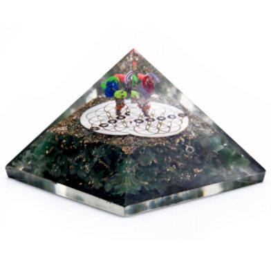 Orgonite Pyramid - Green Aventurine & Flower of Life