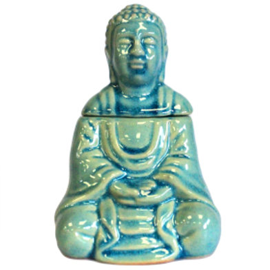 Sitting Buddha Oil Burner - Blue