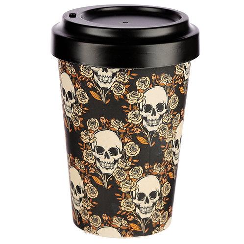 ECO Skull and Roses Bamboo Biodegradable Screw Top Travel Mug