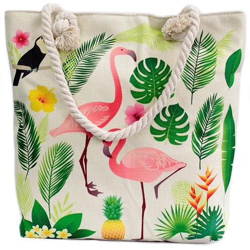 Rope Handle Bag - Flamingo & More