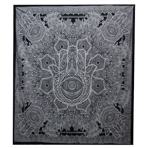B&W Double Cotton Bedspread + Wall Hanging - Hamsa