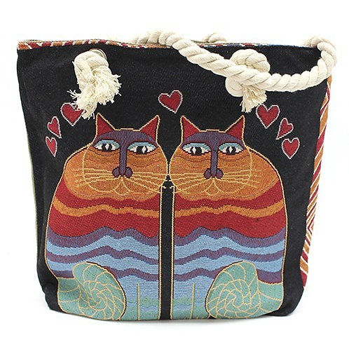 Rope Handle Bag - Two Cats