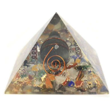 Orgonite Pyramid - Gemchips, Copper, Turtle