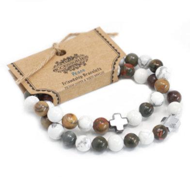 Set of 2 Gemstones Friendship Bracelets - Peace - Picasso Jasper & White Howlite