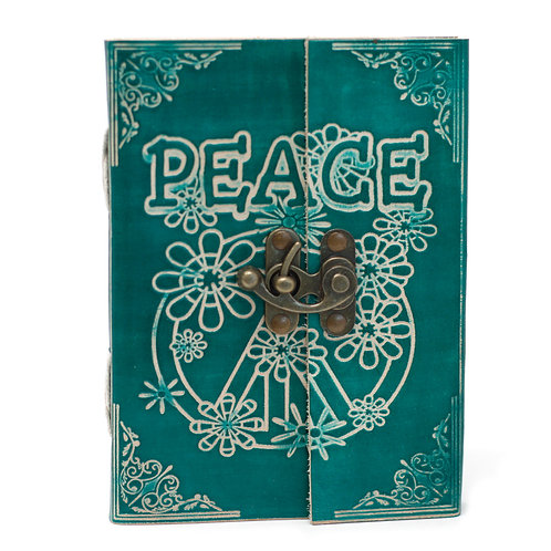 """Leather Green Peace with Lock Notebook (7x5"""")"""