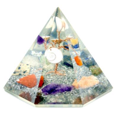 Orgonite 7 sided Pyramid - Gemstone Wisdom Tree
