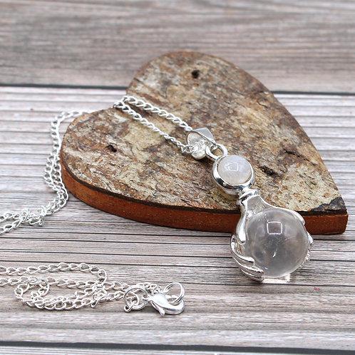 Gemstone Healing Hands Pendant - Rock Quartz