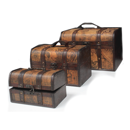 Old Map Chest - Set of 3
