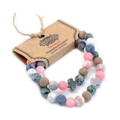 Set of 2 Gemstones Friendship Bracelets - Harmony - Rainbow Gemstones
