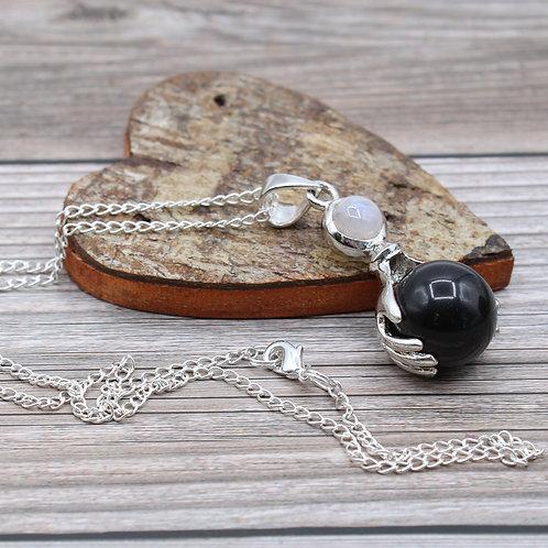 Gemstone Healing Hands Pendant - Black Agate