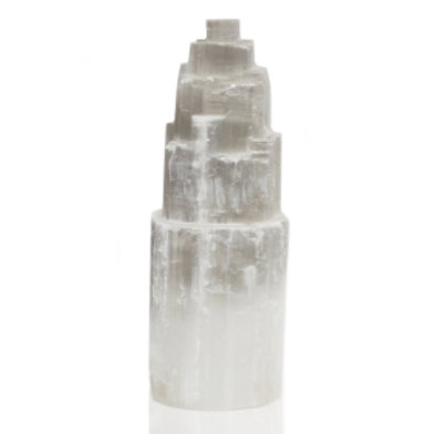 Natural Selenite Tower Lamp - 25 cm