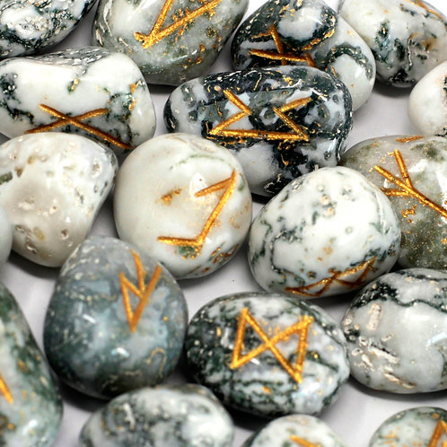 Runes Stone Set in Pouch - Tree Agate