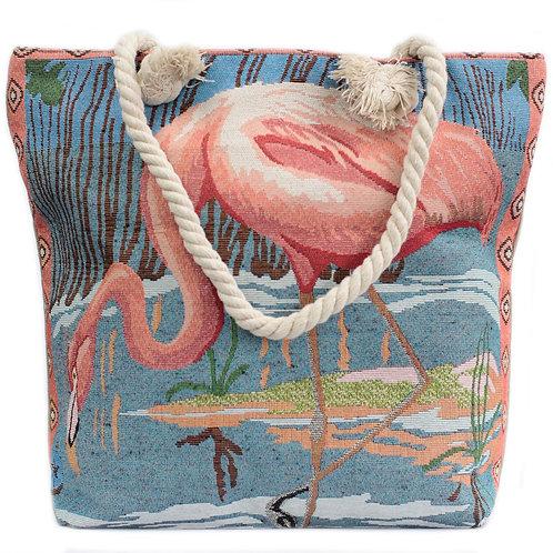 Rope Handle Bag - Pink Flamingo