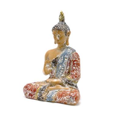 Thai Buddha - Protection - Terraccotta & Sky Blue 26 cm
