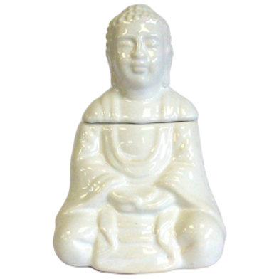 Sitting Buddha Oil Burner -White