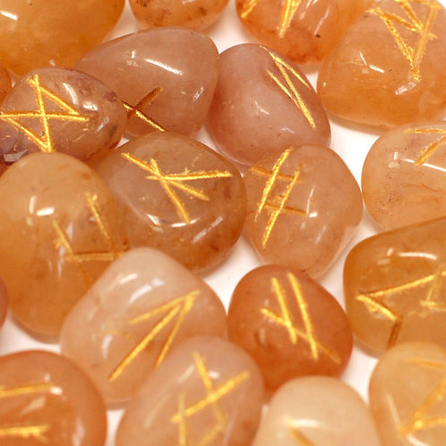 Runes Stone Set in Pouch- Yellow Aventurine