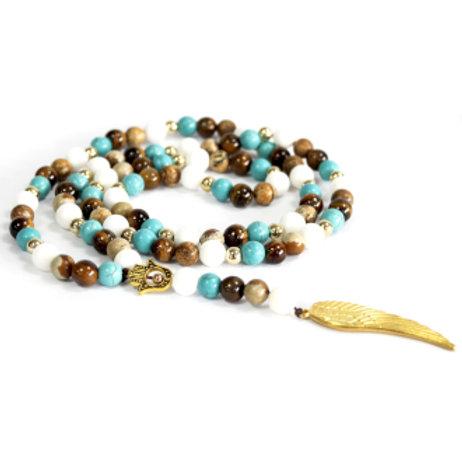 Angel Wing / Multi Beads - Gemstone Necklace