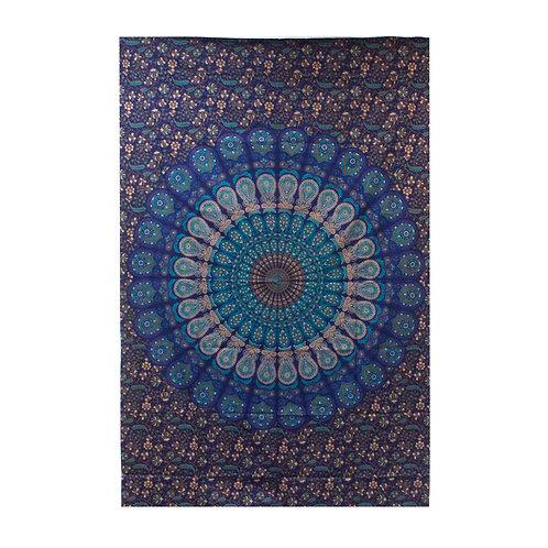 Single Cotton Bedspread + Wall Hanging - Classic Mandala