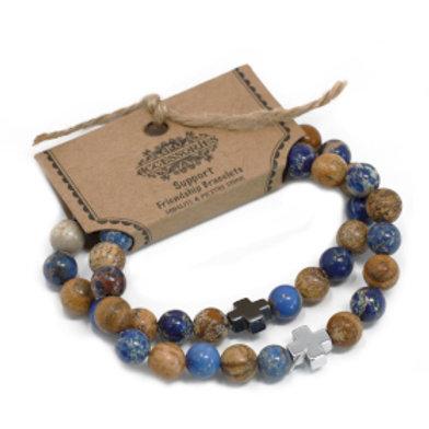 Set of 2 Gemstones Friendship Bracelets - Support - Sodalite & Picturestone