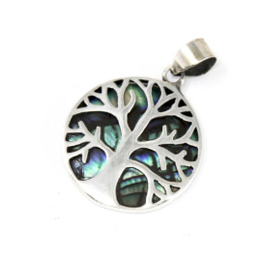 Tree of Life Silver Pendant 22mm - Abalone