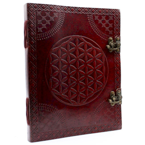 """Huge Flower of Life Leather Book 10x13"""""""