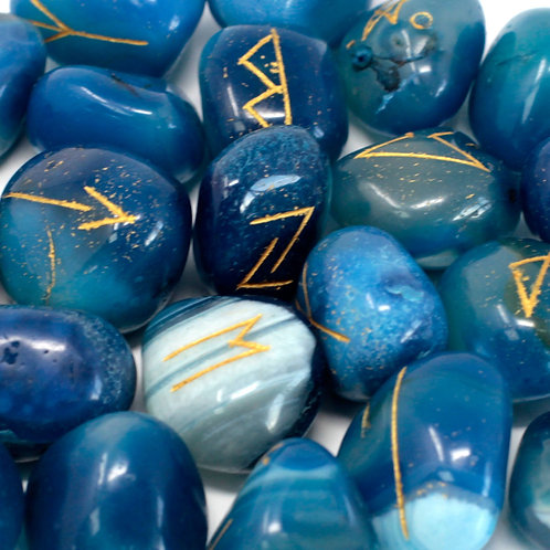 Runes Stone Set in Pouch - Blue Onyx