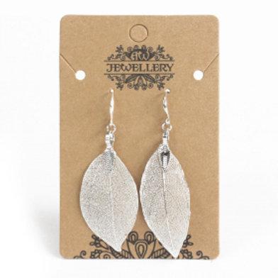 Earrings - Bravery Leaf - Silver