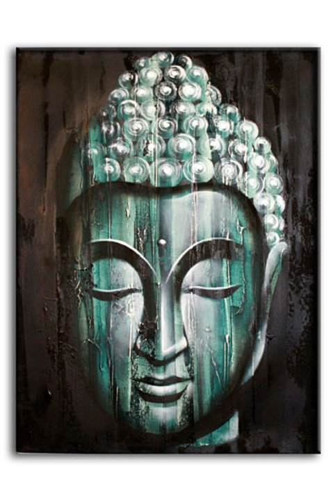 Abstract Wood Buddha  - Green