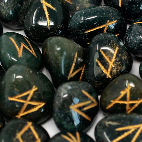 Runes Stone Set in Pouch - Bloodstone