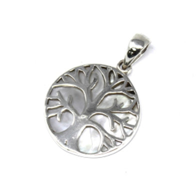 Tree of Life Silver Pendant 22mm - Mother of Pearl