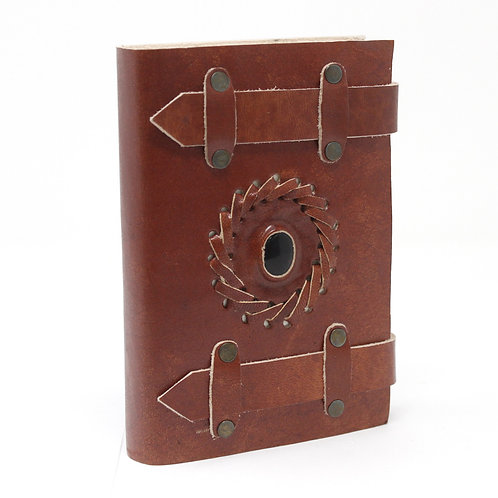"""Leather Black Onyx with Belts Notebook (6x4"""")"""