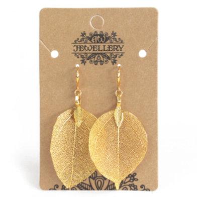 Earrings - Bravery Leaf -Gold