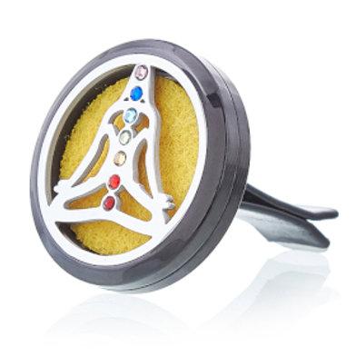 Car Diffuser Kits - Pewter Yoga Chakra  - 30mm