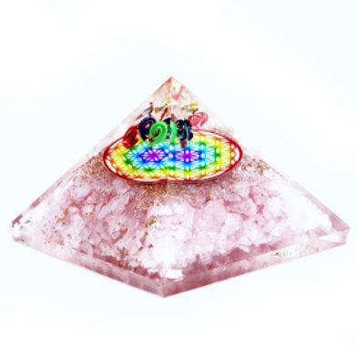 Orgonite Pyramid - Rose Quartz Rainbow Flower of Life