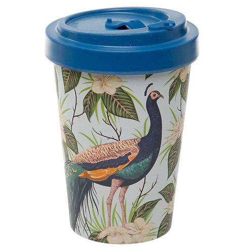 ECO Peacock Reusable Screw Top Bamboo Composite Travel Mug