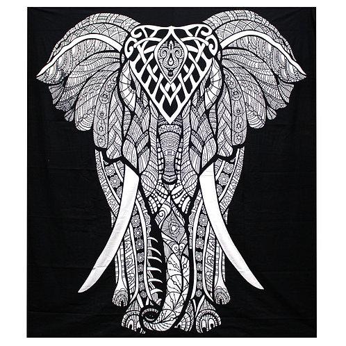 B&W Double Cotton Bedspread + Wall Hanging -   Elephant
