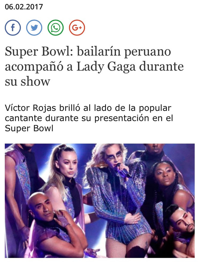 A Peruvian dances with Lady Gaga in Super Bowl 51