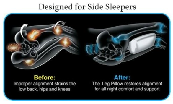Knee pillow for side sleepers and knee and spine support