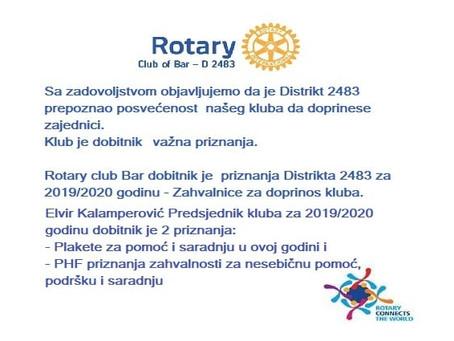 Posebno smo srećni kada priznanja dođu od naših Rotary sestara i braće.