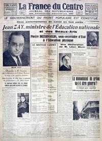La France du centre, du 6 juin 1936