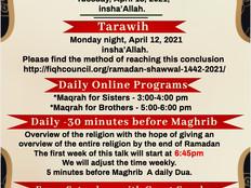 Ramadan 1442/2021 Announcement. Online educational program information during Ramadan