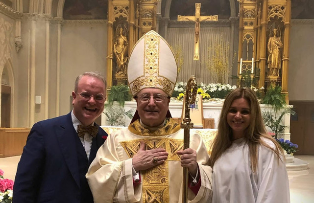 The Most Rev. Robert C. Evans, Aux. Bishop of Providence, along with Eve and Joseph Plaud