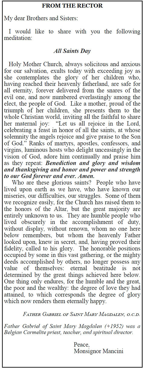 From Monsignor Mancini