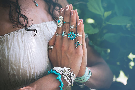 close up of yoga woman hands in namaste