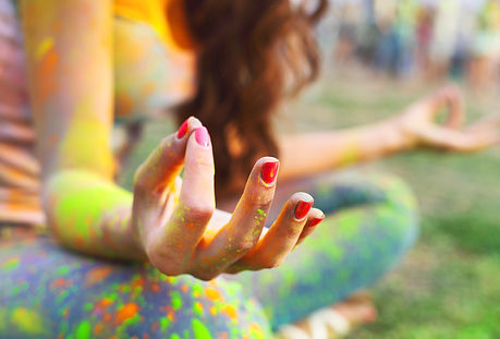 Woman training yoga and meditation, conc